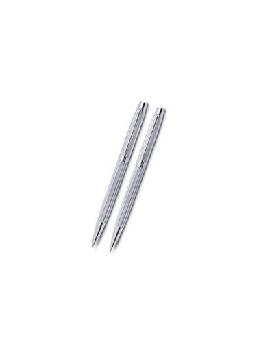 Scrikss 722 W Balıksırtı Desen Tükenmez Versatil Kalem Seti Beyaz